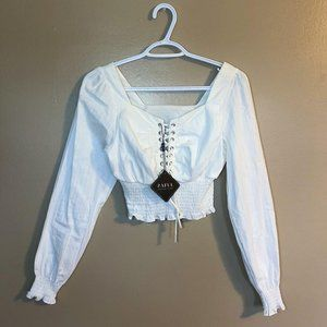 💖3/$25💖 White Lace Up Top